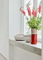 Vase of snapdragons on concrete windowsill
