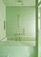 Bathroom with pale green mosaic tiles on walls, ceilings and installations