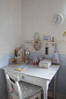 Small vintage writing desk in child's bedroom