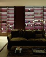 Dark wood shelving with purple back wall and illuminated compartments
