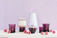 Hand-crafted, romantic lampshades for tealight holders decorated with roses