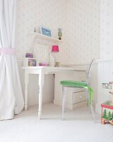 Classic desk and Ghost chair in bright, child's bedroom