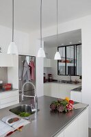 Bright, open-plan kitchen with stainless steel elements and internal windows above counter