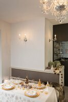 Christmas dining table set with golden details