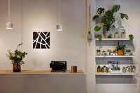 Counter with recessed wooden worksurface below dainty pendant lamps next to foliage plants on wall-mounted shelves