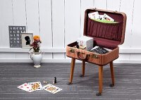 Table hand made from vintage suitcase