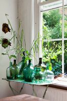 Collection of demijohns in various shades of green, some holding leaves, on vintage folding table next to lattice window
