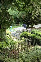 Table and chairs in wild garden