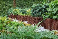 Kale and artichokes growing in raised bed edged by woven iron rods