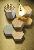 Metallic fabric patterns on honeycomb-shaped objects