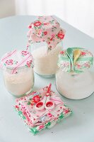 Storage jars with vintage-style fabric lid covers