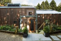 View down onto modern wooden house