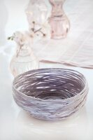 Pastel basket hand-made from yarn