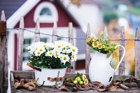 Flowers in bucket and old washstand pitcher in front of paling fence