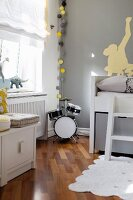 Modern child's bedroom in grey and white