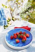 Blue bowl of fresh strawberries on garden table