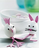 Eggs turned into whimsical animals with foam rubber shapes as Easter decorations