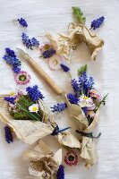Grape hyacinths and daisies wrapped in vintage paper