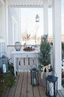 Festively decorated porch