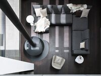 Top view of modern sofa combination and suspended fireplace