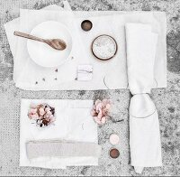 Utensils for dying fabric using hydrangea flowers
