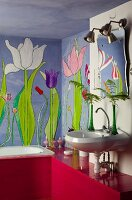 Mural of tulips in bathroom with red-painted wooden cladding and shelf
