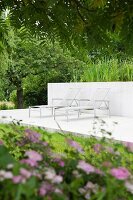 Sun loungers on concrete terrace in summery garden