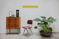 Yellow, zigzag, wall-mounted coat rack, chest of drawers, retro chair and houseplant with large leaves