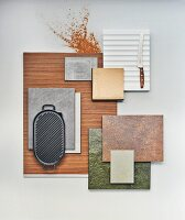 A selection of stone, veneer and metal kitchen cabinet panels