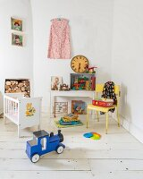 Vintage-style toys in old-fashioned child's bedroom