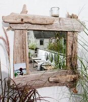 Mirror with driftwood frame