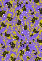 Falling feathers on purple and olive background (print)