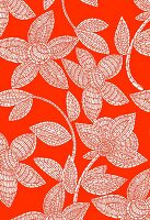 White mosaic flowers on orange background (print)