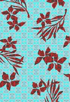 Tropical flowers on geometric background (print)