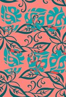 Tropical leaf design in turquoise and coral (print)