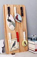 Pinboard with clothes pegs & pictures of birds