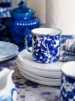 Blue and white crockery
