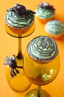 Halloween muffins with spiderweb toppers