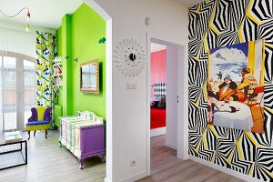 Views into several rooms with bold colour schemes and eclectic furnishings