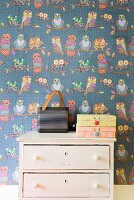 Portable, retro radio and cardboard boxes on vintage chest of drawers against wallpaper with pattern of owls