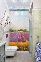Photo wall mural of lavender field in toilet