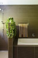 Modern elegant bathroom with brown tiles and house plant on half-height partition screening shower area