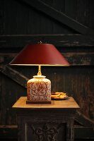 Table lamp with base made from old vase
