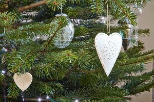Christmas decorations hung from Christmas tree