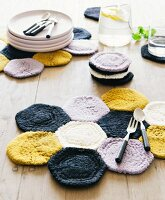 Homemade crocheted place mats made from felting wool