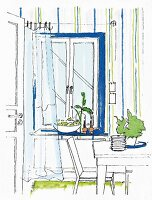 An illustration of a window design with a blue frame, striped wallpaper and a floating curtain in a dining area