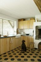 Dog in front of masonry fireplace in fitted kitchen with wooden fronts and hexagonal floor tiles