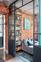 Industrial-style loft apartment with glass and steel partition walls