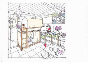 Illustration: Shelves with pull-out plastic boxes and a child's bed with canopy in a garden house