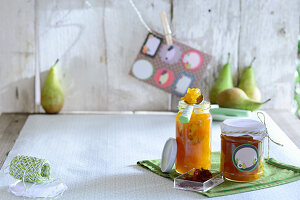 Jar of pear preserve